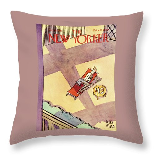 Rooftop Throw Pillow featuring the painting New Yorker July 10 1937 by Peter Arno
