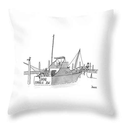 (new Boat Owner Is Painting 'my First Boat' On The Stern Of His Small Yacht Throw Pillow featuring the drawing New Yorker July 11th, 1988 by Jack Ziegler