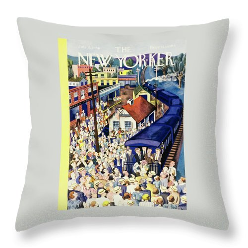 Outdoors Throw Pillow featuring the painting New Yorker July 13 1940 by Ilonka Karasz