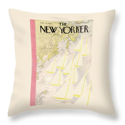 Illustration Throw Pillow featuring the painting New Yorker July 23rd, 1938 by Arthur Getz