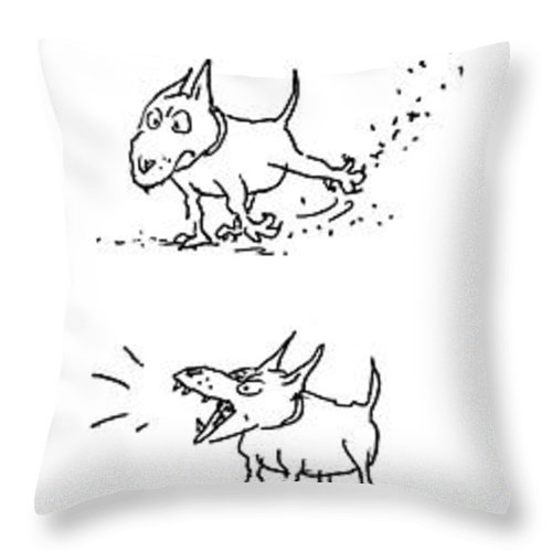 77338 Gbo George Booth (dog Sits Throw Pillow featuring the drawing New Yorker July 26th, 1976 by George Booth