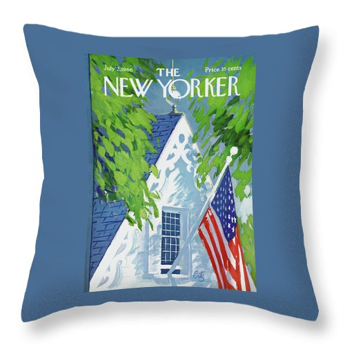 July Fourth Throw Pillow featuring the painting New Yorker July 2nd, 1966 by Arthur Getz