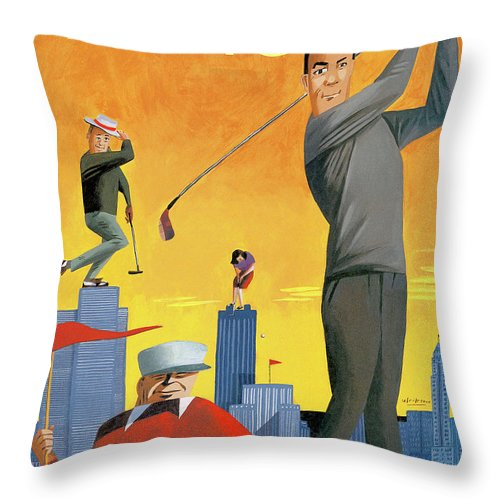 Tee Time Throw Pillow featuring the painting New Yorker June 10th, 1996 by Mark Ulriksen