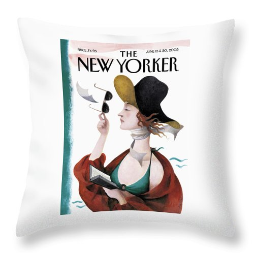 Eustace Tilley Throw Pillow featuring the painting Debut On The Beach by Ana Juan