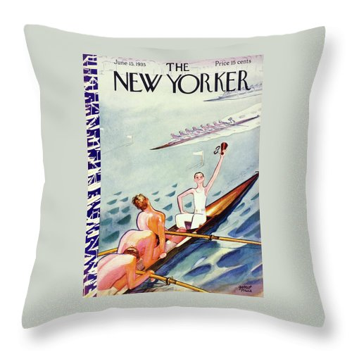 Illustration Throw Pillow featuring the painting New Yorker June 15 1935 by Garrett Price