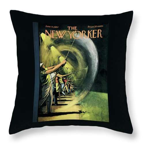 Golf Throw Pillow featuring the painting New Yorker June 15th, 1957 by Arthur Getz
