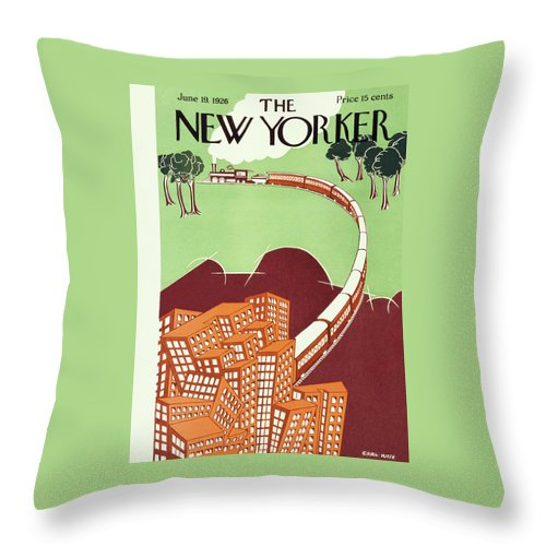 Illustration Throw Pillow featuring the painting New Yorker June 19 1926 by Carl Rose