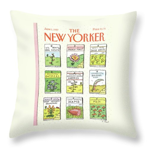 Dining Throw Pillow featuring the painting New Yorker June 1st, 1987 by Roz Chast