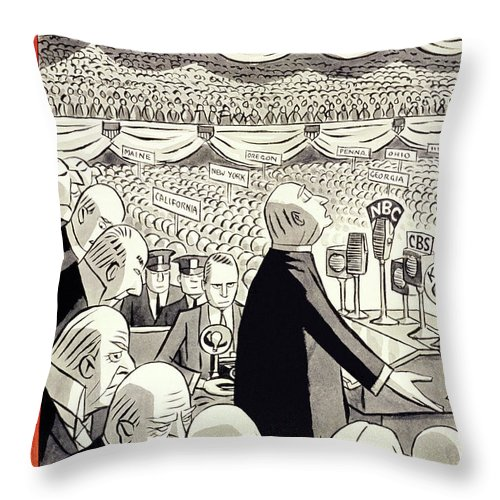 Illustration Throw Pillow featuring the painting New Yorker June 22 1940 by Peter Arno