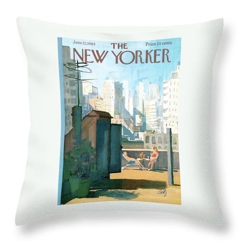 Throw Pillow featuring the painting New Yorker June 22nd, 1963 by Arthur Getz