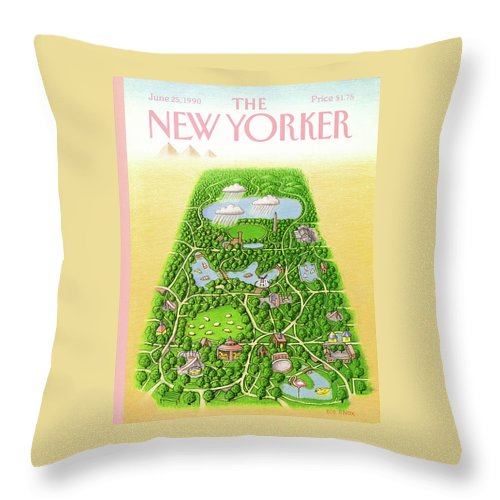 New York City Throw Pillow featuring the painting New Yorker June 25th, 1990 by Bob Knox