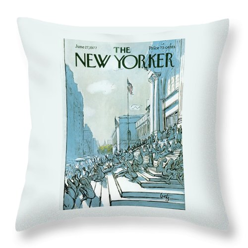 Summer Throw Pillow featuring the painting New Yorker June 27th, 1977 by Arthur Getz