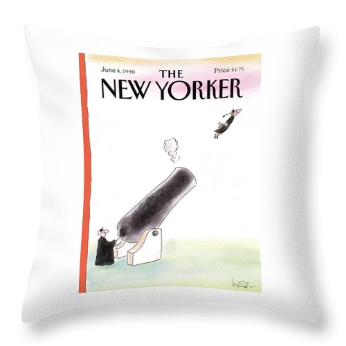 (a Young Graduate Is Shot From A Large Cannon.) Age Throw Pillow featuring the painting New Yorker June 4th, 1990 by Arnie Levin