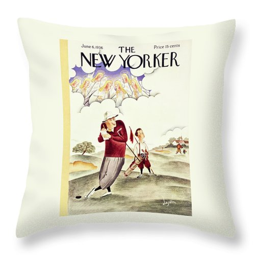 Sport Throw Pillow featuring the painting New Yorker June 6 1936 by Constantin Alajalov