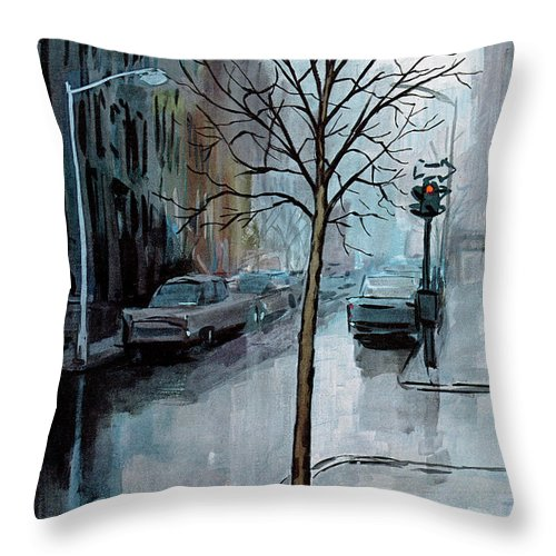 Rain Throw Pillow featuring the painting New Yorker March 12th, 1966 by Arthur Getz