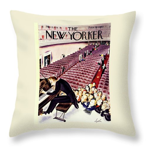 Theater Throw Pillow featuring the painting New Yorker March 21 1936 by Constantin Alajalov