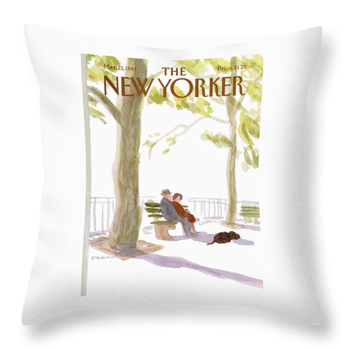 Nature Throw Pillow featuring the painting New Yorker March 23rd, 1981 by James Stevenson