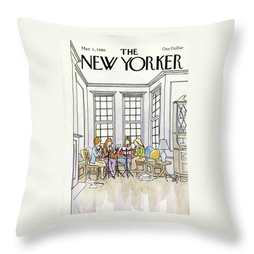 (a Quartet Of Women Playing Recorders In A House.) People Music Entertainment Leisure Hoobies Household Interior Arthur Getz Agt Artkey 50470 Throw Pillow featuring the painting New Yorker March 3rd, 1980 by Arthur Getz