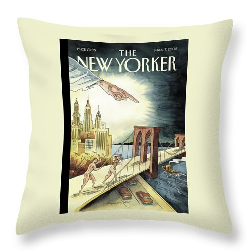 120649 120649  Mha Marcellus Hall Throw Pillow featuring the painting New Yorker March 7, 2005 by Marcellus Hall