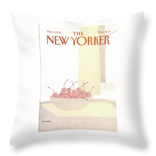 Food Throw Pillow featuring the painting New Yorker March 8th, 1982 by Devera Ehrenberg