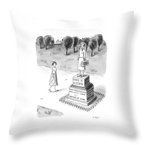 No Caption Woman Passes A Statue Reading:  No Caption Woman Passes A Statue Reading: Monuments Throw Pillow featuring the drawing New Yorker May 18th, 1987 by Roz Chast