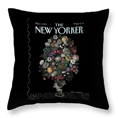 Flower Throw Pillow featuring the painting New Yorker May 1st, 1989 by Pamela Paparone