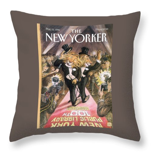 The Roar Of The Crowd Throw Pillow featuring the painting New Yorker May 22nd, 1995 by Edward Sorel