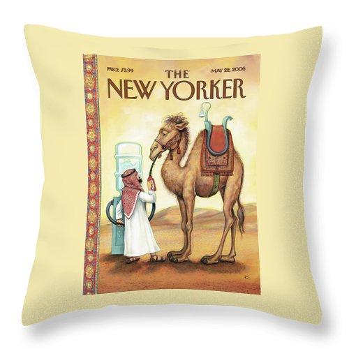 Fill 'er Up Throw Pillow featuring the painting Fill Er Up by Anita Kunz