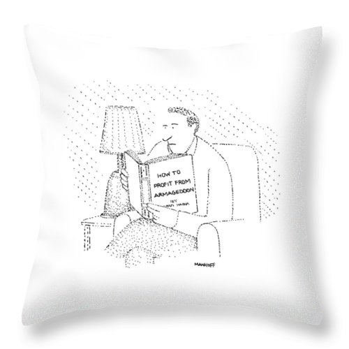 Writing Throw Pillow featuring the drawing New Yorker May 4th, 1981 by Robert Mankoff