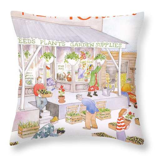 Garden Throw Pillow featuring the painting New Yorker May 6th, 1985 by Anne Burgess