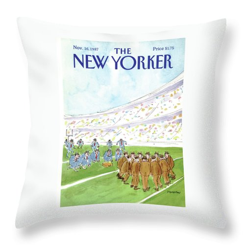 Business Throw Pillow featuring the painting New Yorker November 16th, 1987 by James Stevenson