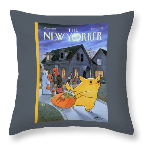 Treats Of The Trade Throw Pillow featuring the painting New Yorker November 1st, 1999 by Harry Bliss