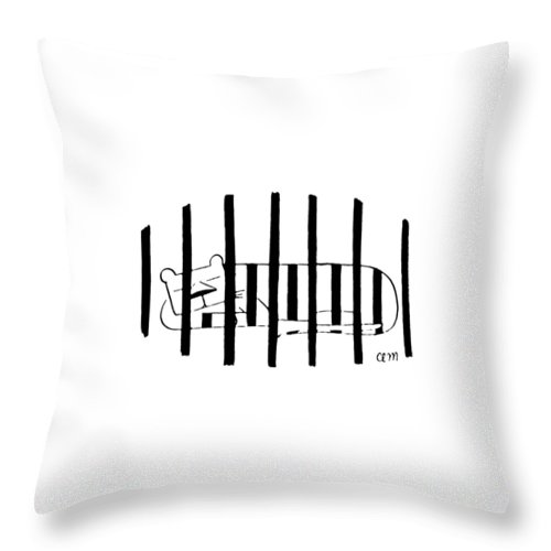 80771 Cma Charles E. Martin (striped Cat Sleeps Behind Bars Of Cage.) Animals Bars Behind Cage Captivity Cat Cats Coat Felines Illusion Markings Optical Sleeps Striped Tiger Tigers Zoo Throw Pillow featuring the drawing New Yorker November 25th, 1972 by Charles E. Martin