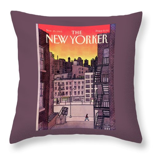 New York City Throw Pillow featuring the painting New Yorker November 25th, 1985 by Roxie Munro