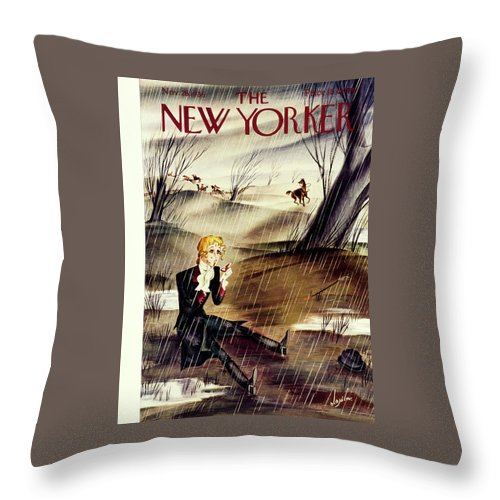 Animal Throw Pillow featuring the painting New Yorker November 28 1936 by Constantin Alajalov