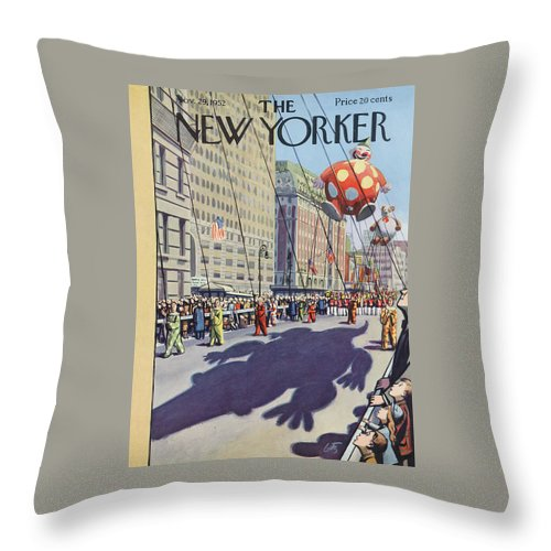 Party Throw Pillow featuring the painting New Yorker November 29th, 1952 by Arthur Getz