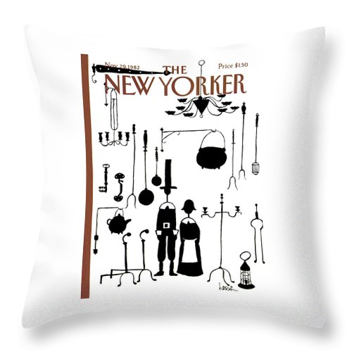 Dining Throw Pillow featuring the painting New Yorker November 29th, 1982 by Arnie Levin