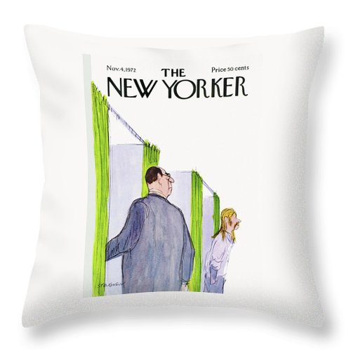 James Stevenson Jst Throw Pillow featuring the painting New Yorker November 4th, 1972 by James Stevenson