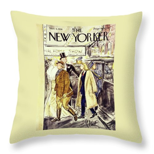 National Horse Show Throw Pillow featuring the painting New Yorker November 5 1938 by Perry Barlow