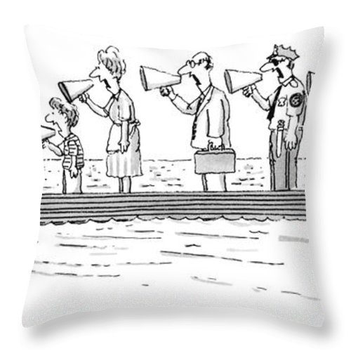 Man Rowing While His Family Throw Pillow featuring the drawing New Yorker October 10th, 1983 by Tom Cheney