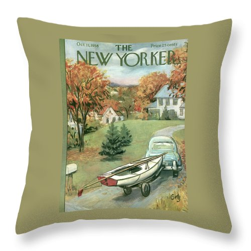 New Yorker October 11th, 1958 Throw Pillow