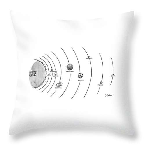 No Caption The Sun Is Surrounded By Nine Types Of Ball-which Seem To Be Orbltlng--golf Throw Pillow featuring the drawing New Yorker October 15th, 1990 by Dana Fradon