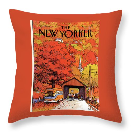 Season Throw Pillow featuring the painting New Yorker October 19th, 1981 by Arthur Getz