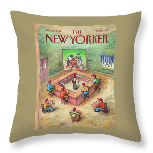 Leisure Throw Pillow featuring the painting New Yorker October 19th, 1987 by John O'Brien
