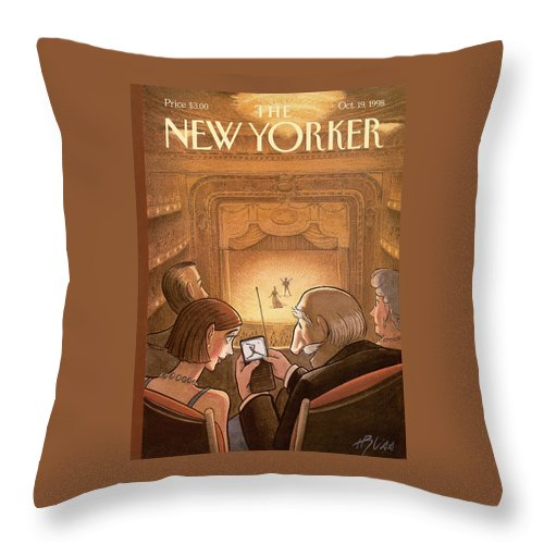 Doubleheader Throw Pillow featuring the painting New Yorker October 19th, 1998 by Harry Bliss
