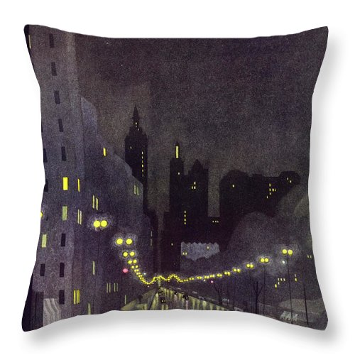 Illustration Throw Pillow featuring the painting New Yorker October 29 1932 by Arthur K. Kronengold