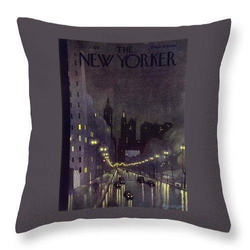 Illustration Throw Pillow featuring the painting New Yorker October 29 1932 by Arthur K Kronengold