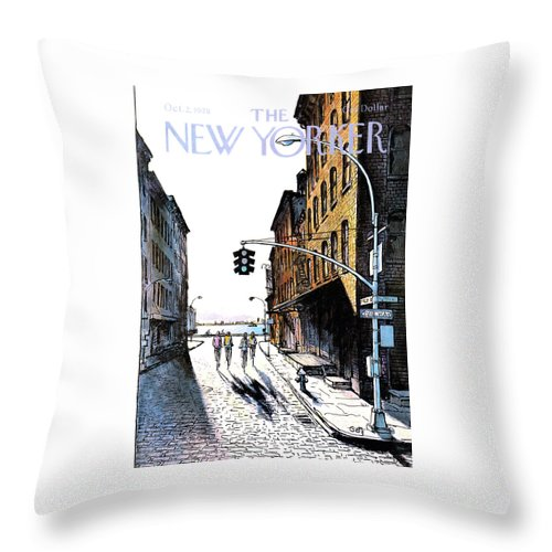 People Throw Pillow featuring the painting New Yorker October 2nd, 1978 by Arthur Getz