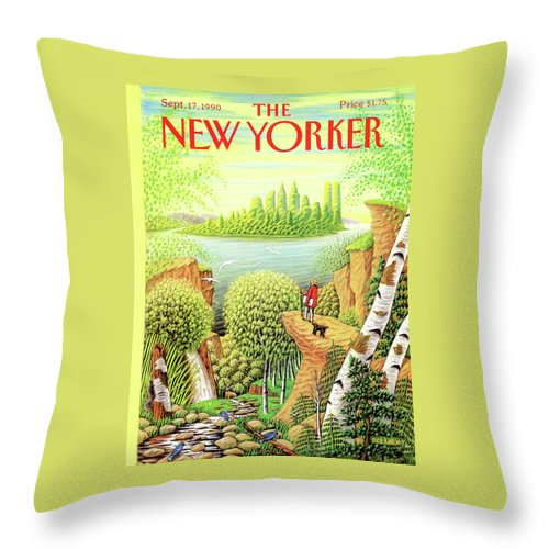 (a Man And His Dog Hike Through A Vast Landscape Of Woods Throw Pillow featuring the painting Green New York by Bob Knox