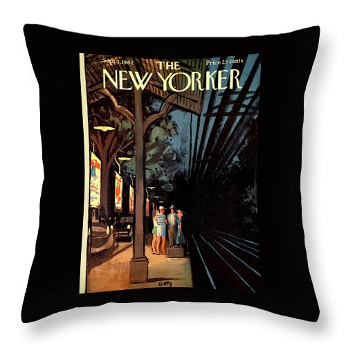 Wait Throw Pillow featuring the painting New Yorker September 1st, 1962 by Arthur Getz